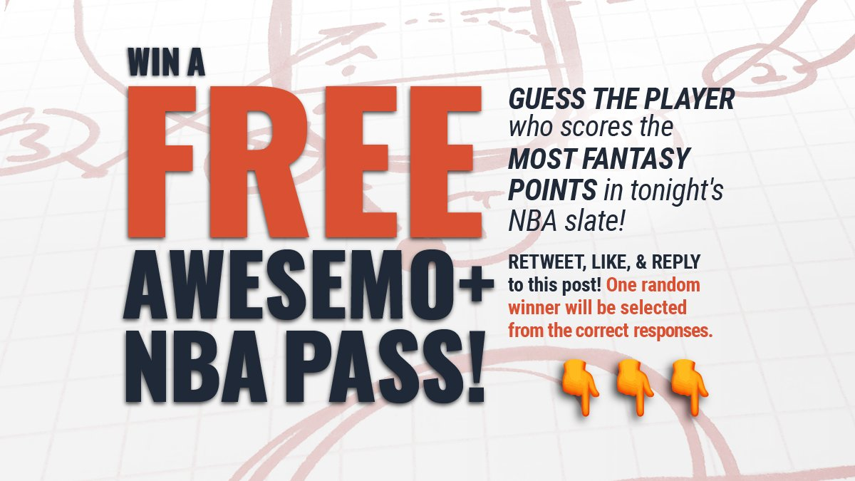 🚨🎁 #NBA #GIVEAWAY🎁🚨  Win a FREE Awesemo+ NBA Yearly Pass! ($399 Value) Guess the PLAYER that scores the MOST Fantasy Points on tonight's NBA DFS slate:   🔄RT ❤️Like ✍️Reply ✅Follow @Awesemo_Com & @AwesemoNBA  #NBA #DFS #NBATwitter #DraftKings #FanDuel