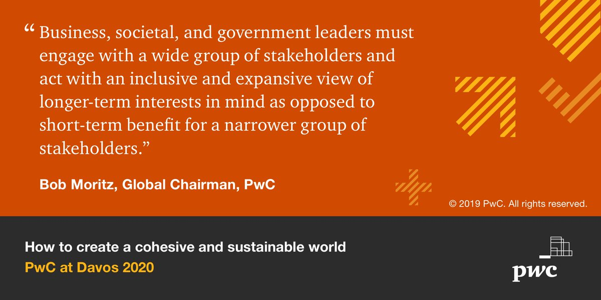 How can we create a cohesive & sustainable world? @PwC Global Chairman @Bob_Moritz and other leaders share their take. More here: https://t.co/wO5yPrwxZV #wef20 https://t.co/lTWmzhemhc