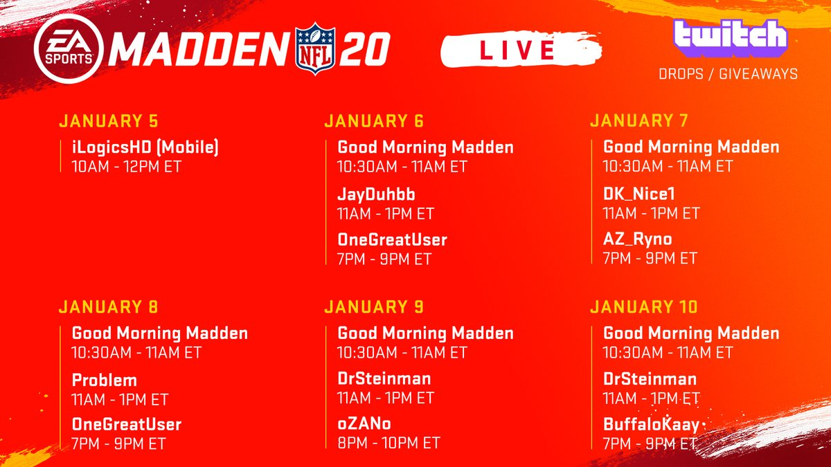 ICYMI - See which creators are streaming on Madden Live this week!