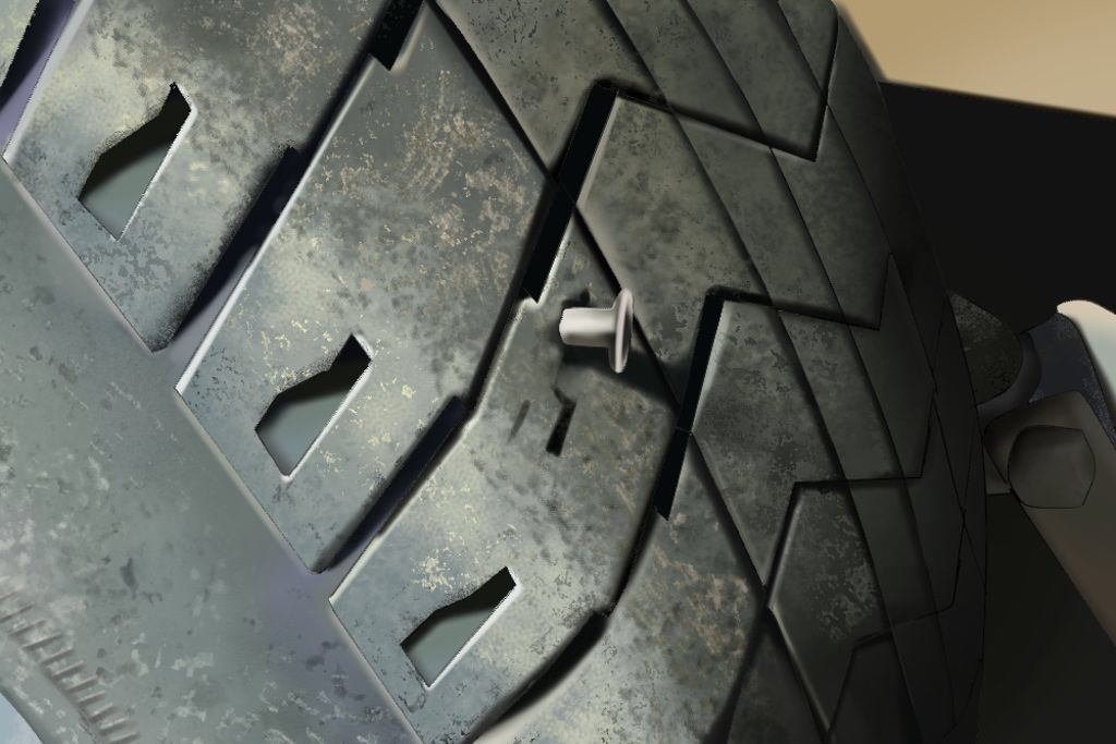 my coworker called in (yet again) and said she had a nail on her tire that caused her to have a flat. i need everyone to stop what they're doing and ZOOM IN TO THE NAIL IN THE PICTURE SHE SENT MY BOSS