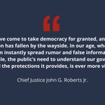 Image for the Tweet beginning: Chief Justice #JohnRoberts recently discussed