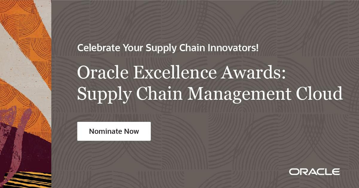Do you know a #Supply #Chain #Innovator who deserves to be recognized? Nominate them for an Oracle Supply Chain Excellence Awards today! #scm #mbx #oracle #awards https://t.co/hpDg0tZG0h https://t.co/uKahcZIbCm