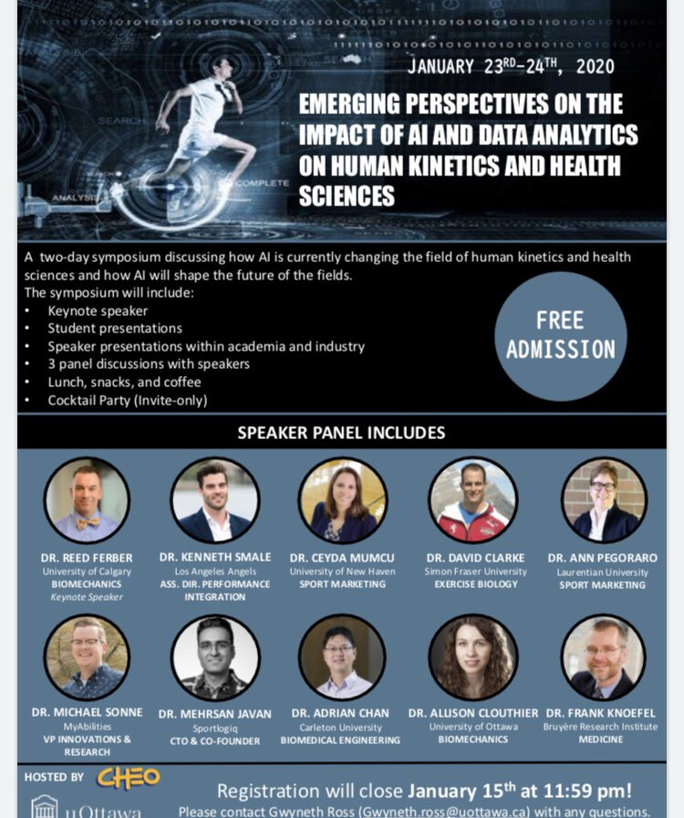 Interested in AI in healthcare?! Come on out January 23/24 to this one of a kind event with a top notch line up of speakers! FREE registration to UO Health sci faculty, post docs and students Registration link in bio. #AI #humankinetics @uOttawaResearch @uOttawaHealthScpic.twitter.com/YOcU78XciK