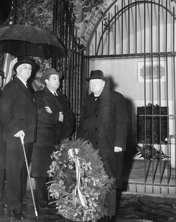 FDR and Churchill at George Washington's Mount Vernon grave today 1942, a month after Pearl Harbor: