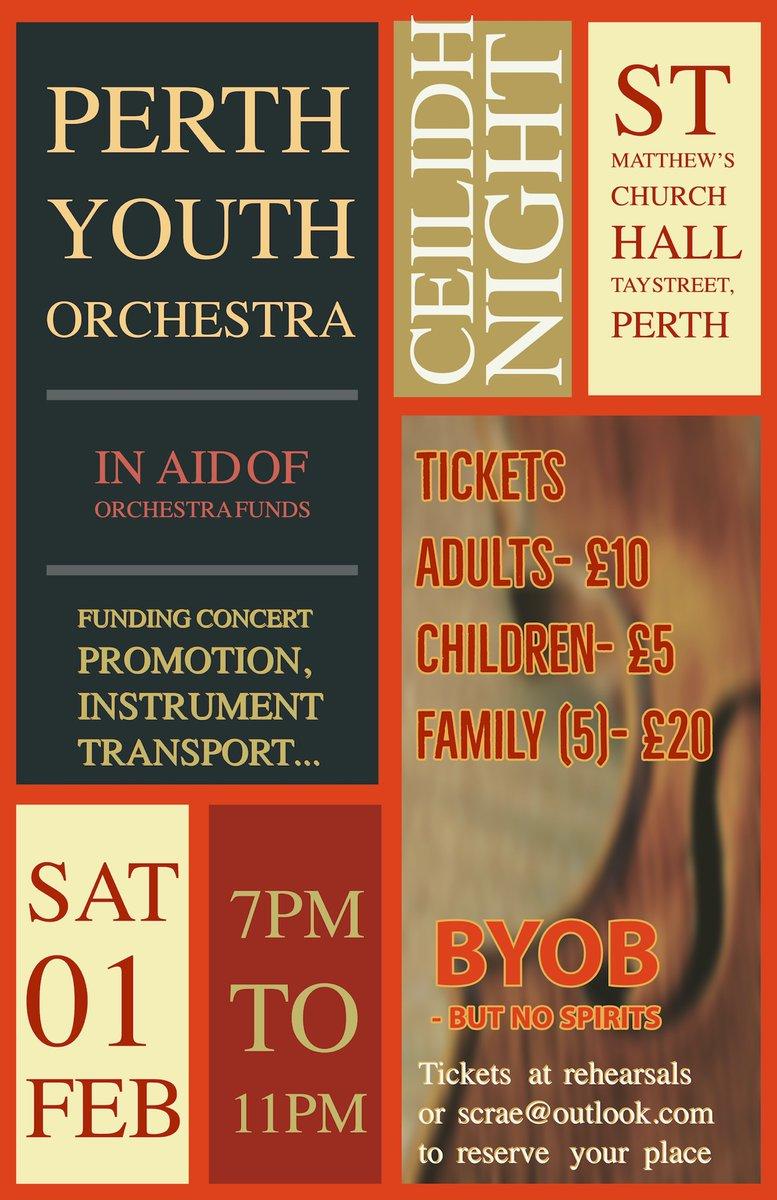 PYO Ceilidh - Saturday 1st February - 7pm @StMatthewsPerth @pkcMusicService - tickets at rehearsals #ceilidh #perthyouthorchestra https://t.co/LoyXymmtek