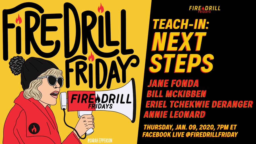 Artwork for Fire Drill Friday's Thursday teach-in hosted by Jane Fonda