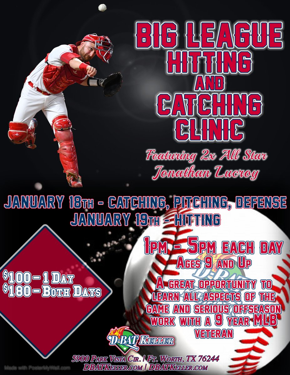 🚨SPCECIAL PRICING🚨  Register for our Big League Clinic with Jonathan Lucroy on the 18th & 19th and get 50% off our MLK Camp on the 20th! To sign up, call (817) 337-3228 today!