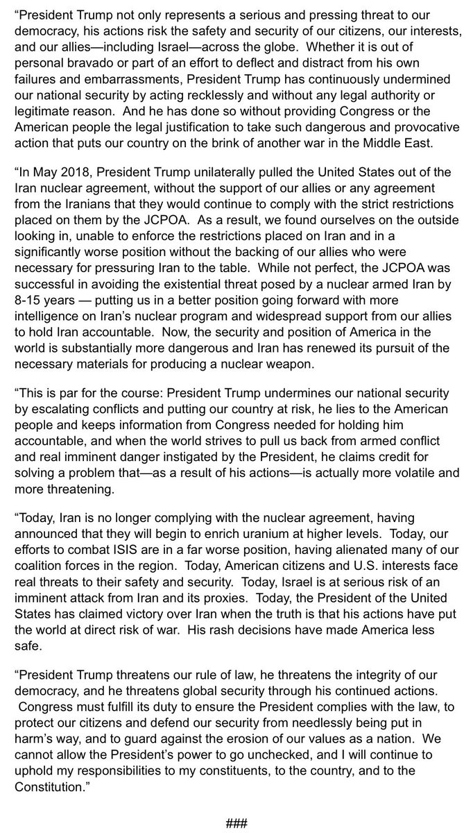 President Trump not only represents a serious and pressing threat to our democracy, his actions risk the safety and security of our citizens, our interests, and our allies—including Israel—across the globe.  Me full statement below:
