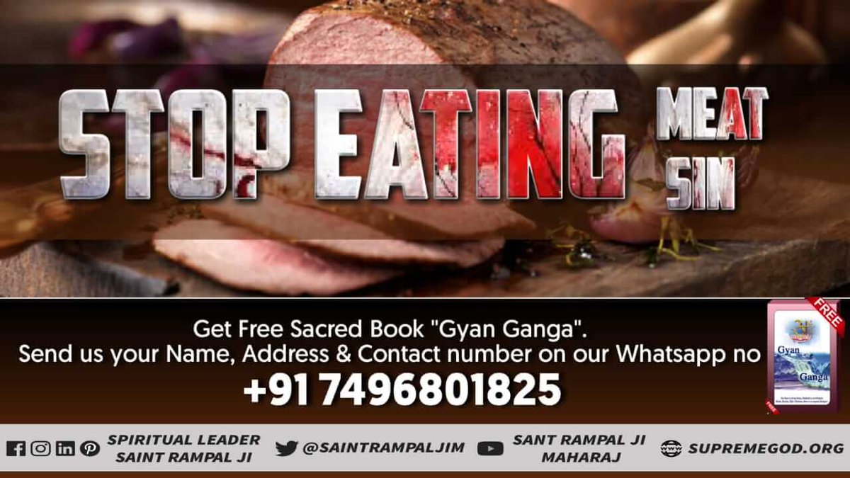 We all including animals (goat, cock etc.) are the children of that SUPREME GOD. If one child kills the other child, the FATHER can never be happy. So we should be vegetarian. To Know More Watch Saarthi T.V-6:30pm  #GodMorningFriday <br>http://pic.twitter.com/TkCxeEKEXU