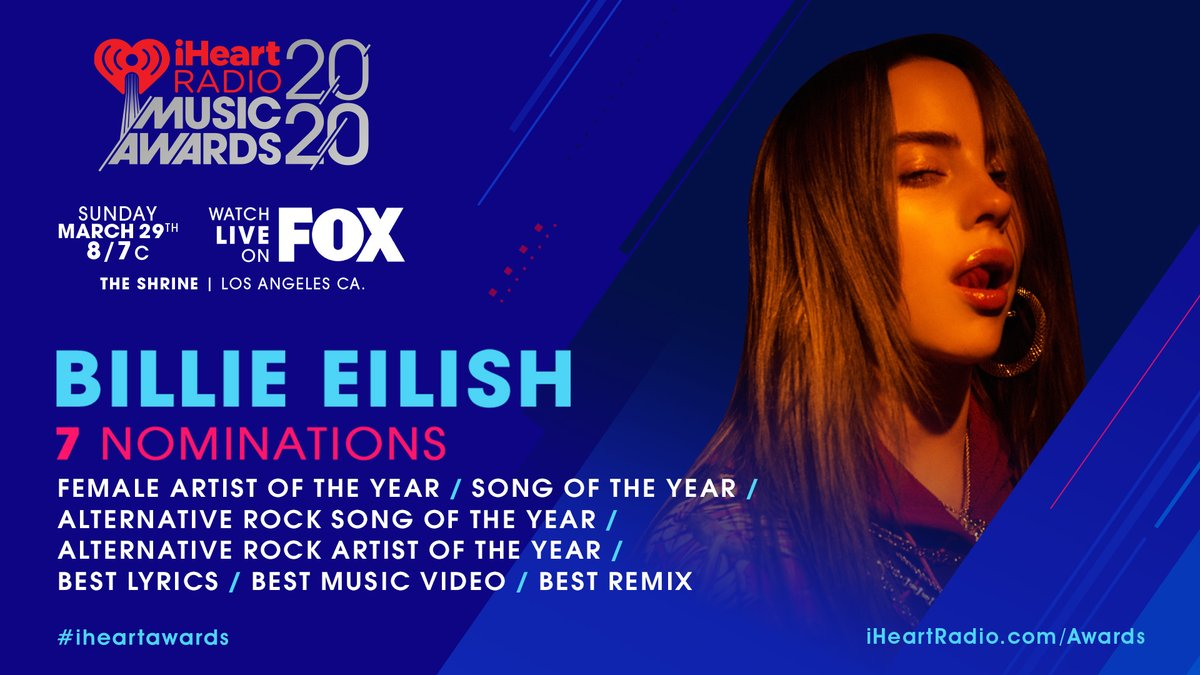 Billie is nominated in 7 categories at the 2020 #iHeartAwards! @iHeartRadio iHeartRadio.com/Awards