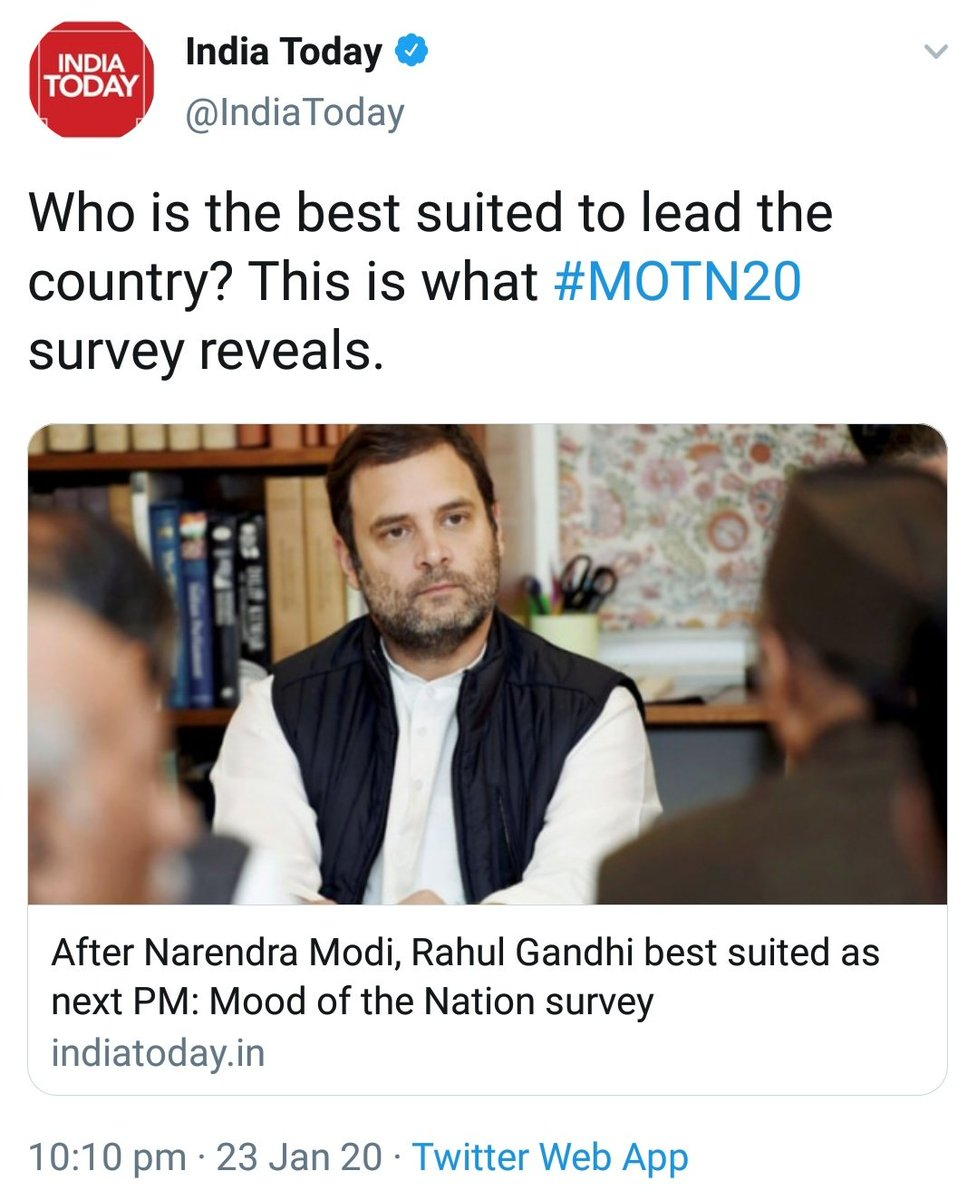 """There is 40 percentage point gap between PM Modi and Rahul Gandhi in the prime ministerial stakes. While 53% have named Narendra Modi as the next Prime Minister, only 13% have said that Rahul Gandhi is best suited to lead the country."" Hence @IndiaToday plugs Rahul Gandhi pic. <br>http://pic.twitter.com/HDqMURUQhd"