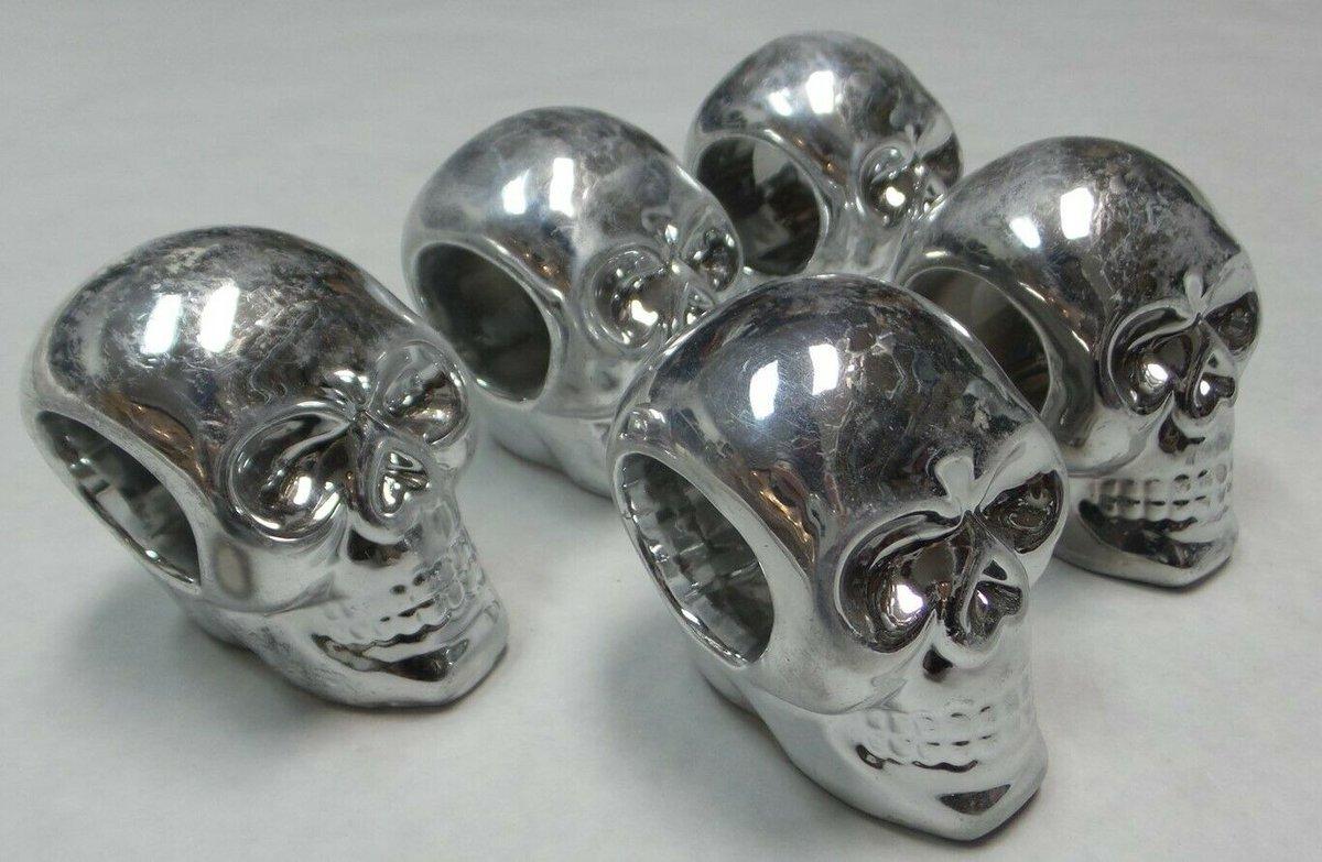 See this #auction starting $3.59! Design Imports CAMZ10887 Silver Skull Napkin Ring Holder Set - Set of 5 #napkins #dinnerparty #gothic #goth #party #partytime #Sales #Deals #bargainshopper #shoppingstar #eBay #ebayfinds #ebaydeals #Skullgirls #Partying
