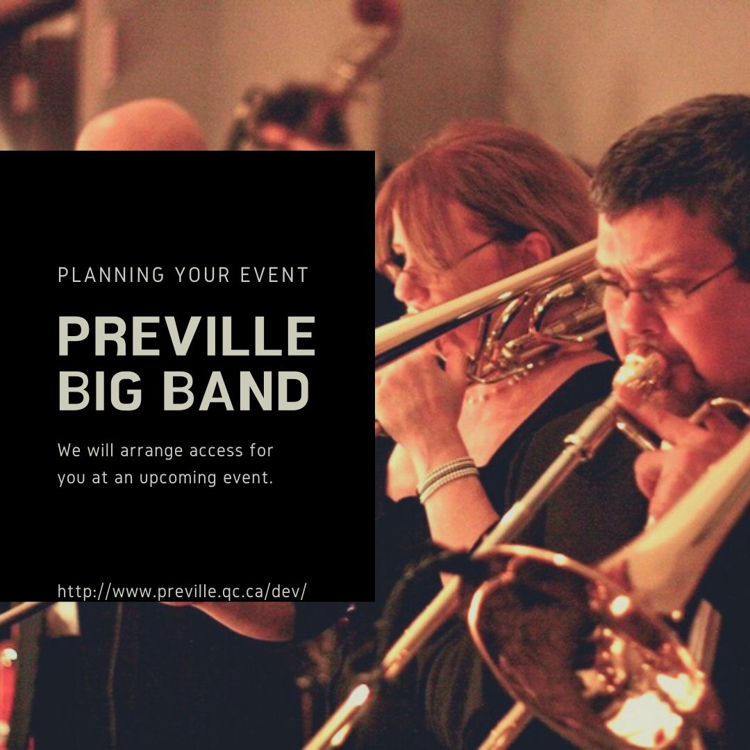 Preville Big Band! We are a 17-piece dance band, with full brass and rhythm sections plus two singers.  Call us +1.514-952-0419 Email: bigband@preville.qc.ca #band #liveband #livebandmusic #music #musicvideo #dancemusic #bands #party #events #livebandevents #events #musically