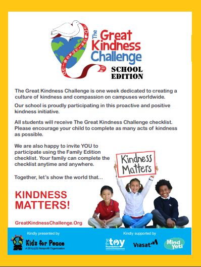 Next week, <a target='_blank' href='http://twitter.com/longbranch_es'>@longbranch_es</a> will be participating in the <a target='_blank' href='http://search.twitter.com/search?q=GreatKindnessChallenge'><a target='_blank' href='https://twitter.com/hashtag/GreatKindnessChallenge?src=hash'>#GreatKindnessChallenge</a></a>! We challenge all students to complete as many acts of kindness to help spread kindness at our school! The checklist will be posted in the main hallway and in all classrooms. <a target='_blank' href='http://search.twitter.com/search?q=KindnessMatters'><a target='_blank' href='https://twitter.com/hashtag/KindnessMatters?src=hash'>#KindnessMatters</a></a> <a target='_blank' href='https://t.co/UXcsL887d4'>https://t.co/UXcsL887d4</a>
