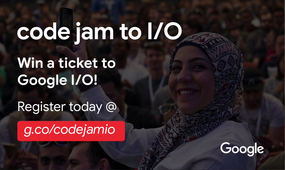 Want to win a ticket to Google I/O?   Register for Code Jam to I/O, Google's online coding competition for Women    The single-round kicks off Feb 15th. Learn more and register here →  http:// g.co/codejamio    <br>http://pic.twitter.com/OfVczRH7Zg
