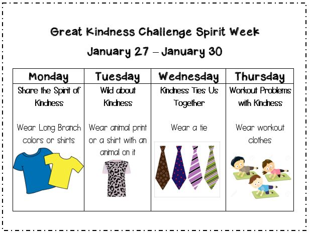 Here are our SPIRIT DAYS for next week!!! <a target='_blank' href='http://twitter.com/longbranch_es'>@longbranch_es</a> <a target='_blank' href='http://search.twitter.com/search?q=kindnessmatters'><a target='_blank' href='https://twitter.com/hashtag/kindnessmatters?src=hash'>#kindnessmatters</a></a> <a target='_blank' href='http://search.twitter.com/search?q=GreatKindnessChallenge'><a target='_blank' href='https://twitter.com/hashtag/GreatKindnessChallenge?src=hash'>#GreatKindnessChallenge</a></a> <a target='_blank' href='https://t.co/kGbNm3sUnY'>https://t.co/kGbNm3sUnY</a>
