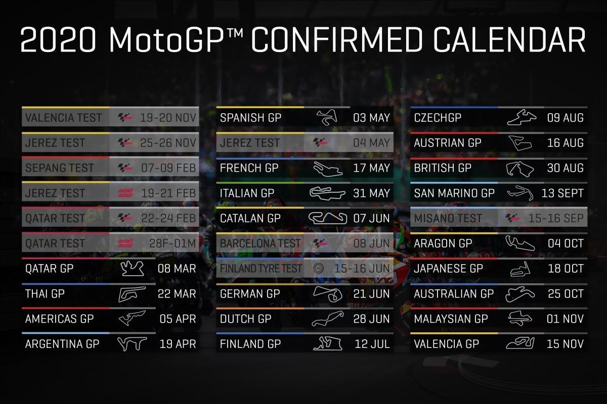 #FinlandGP: July 12 #CzechGP: August 9 #AustrianGP: August 16 #BritishGP: August 30 #SanMarinoGP: September 13 #AragonGP: October 4 #JapaneseGP: October 18 #AustralianGP: October 25 #MalaysianGP: November 1 #ValenciaGP: November 15  More: https://www.motogp.com/en/news/2020/01/23/2020-motogp-calendar-officially-confirmed/322424…