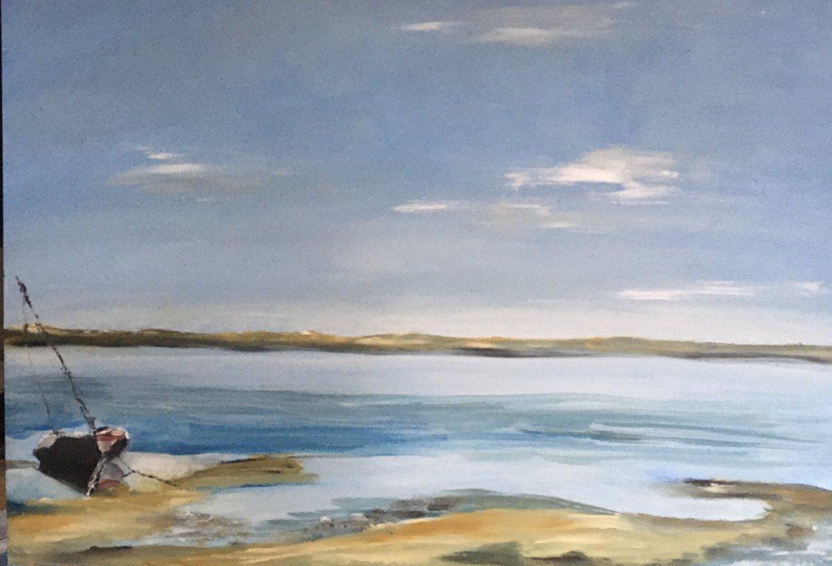 'The still of the tide' Morston harbour - oil on board @eastanglianart @GalleryHolt @grapevine_art #norfolkskies #blakeneypoint #contemporaryart #calm #ciastalart