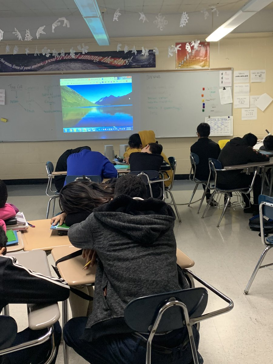 Morning Meditation in our 7th Grade Science class @Ms_Galasso @NBMSzebras #Mindfulness #calm