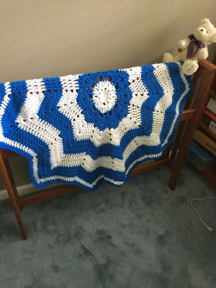 Excited to share this from my #etsy shop: Blue and White Crochet Baby Blanket, Blue Baby Afghan, Blue and White Crib Blanket, Baby Shower Gift, Baby Photo Prop  #housewares #bedroom #bedding #blue #white #chevron
