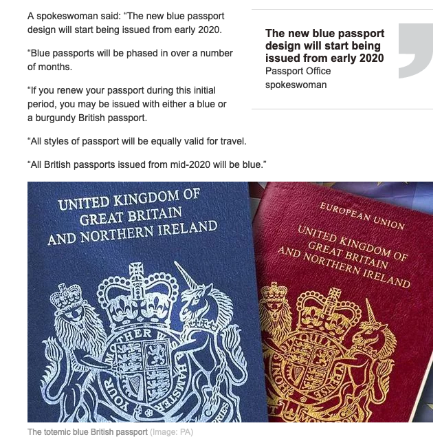 Can anyone spot whats wrong with the design of the iconic blue passport as depicted in todays Daily Express?