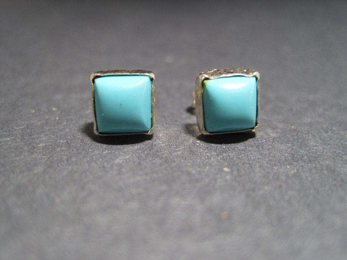 Sterling Silver 5mm Square Turquoise Stud Earrings  #jewelry #earrings #blue #minimalistearrings #geometricearrings #squareearrings #turquoiseearrings #southwesternearrings #dreamerscorner #jewelrysale #etsyjewelry #youthjewelry #girlsjewelry