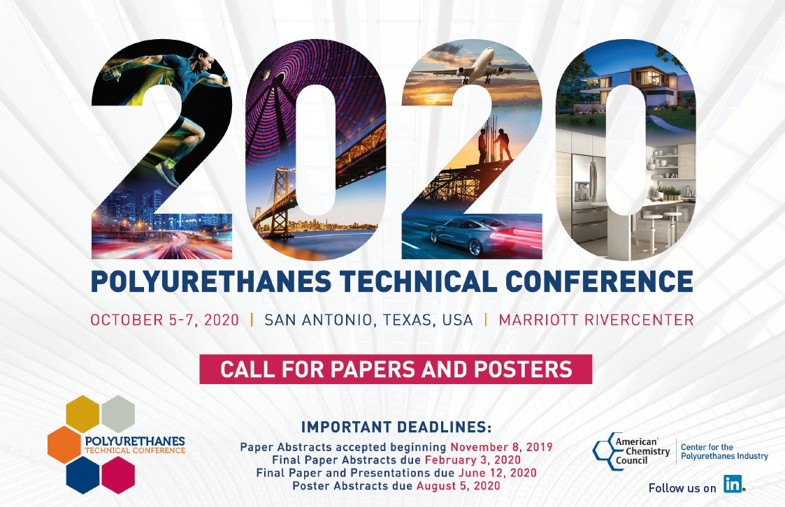 Interested in submitting an abstract for the 2020 Polyurethanes Technical Conference in San Antonio, TX, on Oct. 5-7, 2020? Originality and relevance of the topic a must. Join 1000 attendees and share your unique expertise. Submit yours today! https://t.co/ikfyRL9Uya #PolyCon2020 https://t.co/44M6dHD4eF