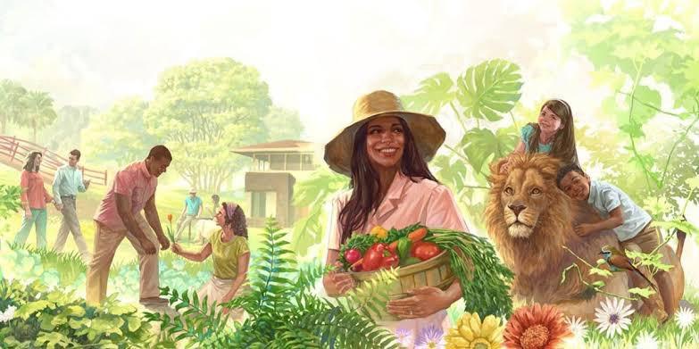 """Luide sur Twitter : """"quando falam de """"ecossocialismo"""" eu lembro das  ilustrações das Testemunhas de Jeová falando do paraíso:… """""""
