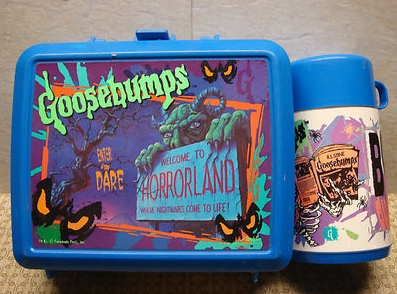 Yes, I, @RL_Stine, am giving away this vintage Goosebumps lunchbox from the 90s to one lucky follower. To win, you just need to retweet this tweet. Im picking a winner at random on January 28.