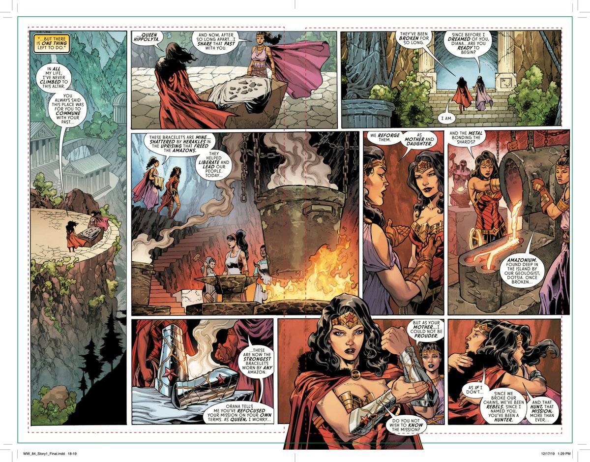 THANK YOU all your awesome support of and response to Wonder Woman 750 yesterday! It was all about this. Mother and Daughter reforging the original shattered Amazon bracelets. What was broken is remade. If it felt like Narsil and Anduril...that was the plan! Alala!