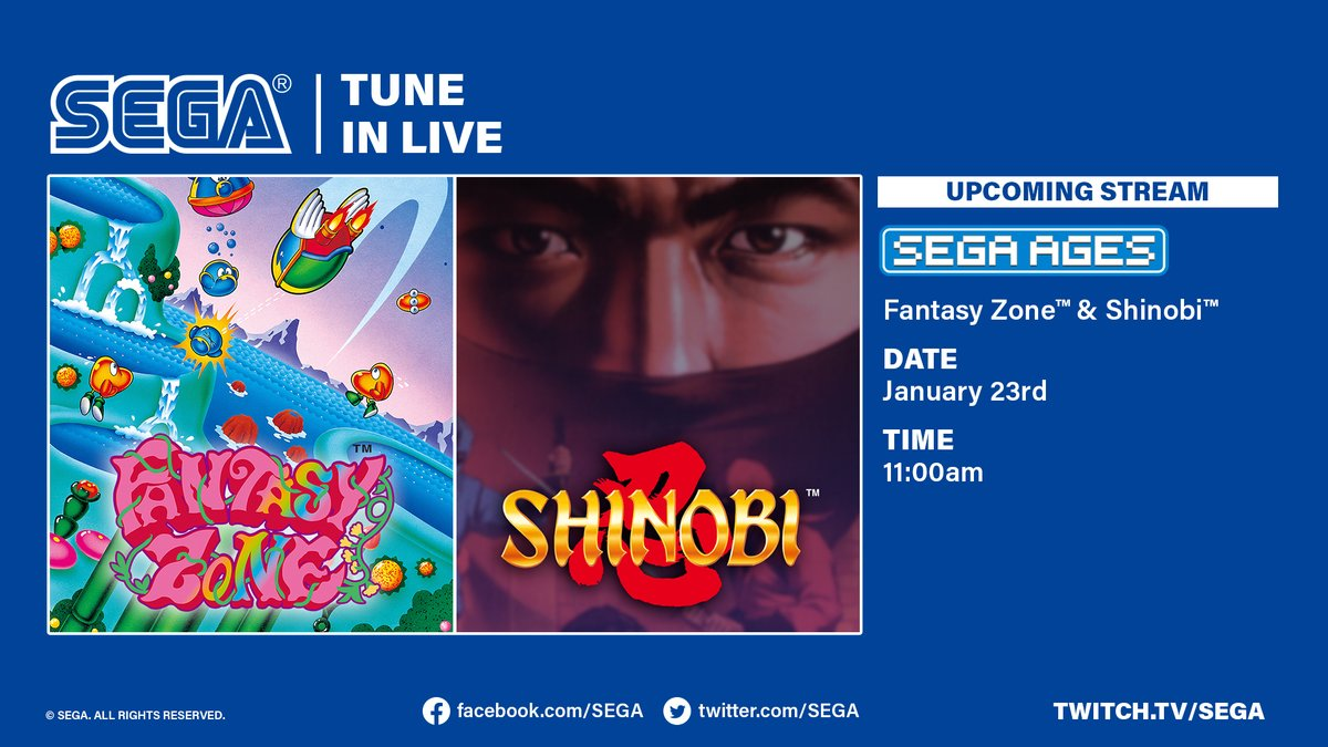 We're now live with SEGA AGES Shinobi and Fantasy Zone!  Come join us: https://t.co/ECE8g24ETv https://t.co/kBFcruYiVS