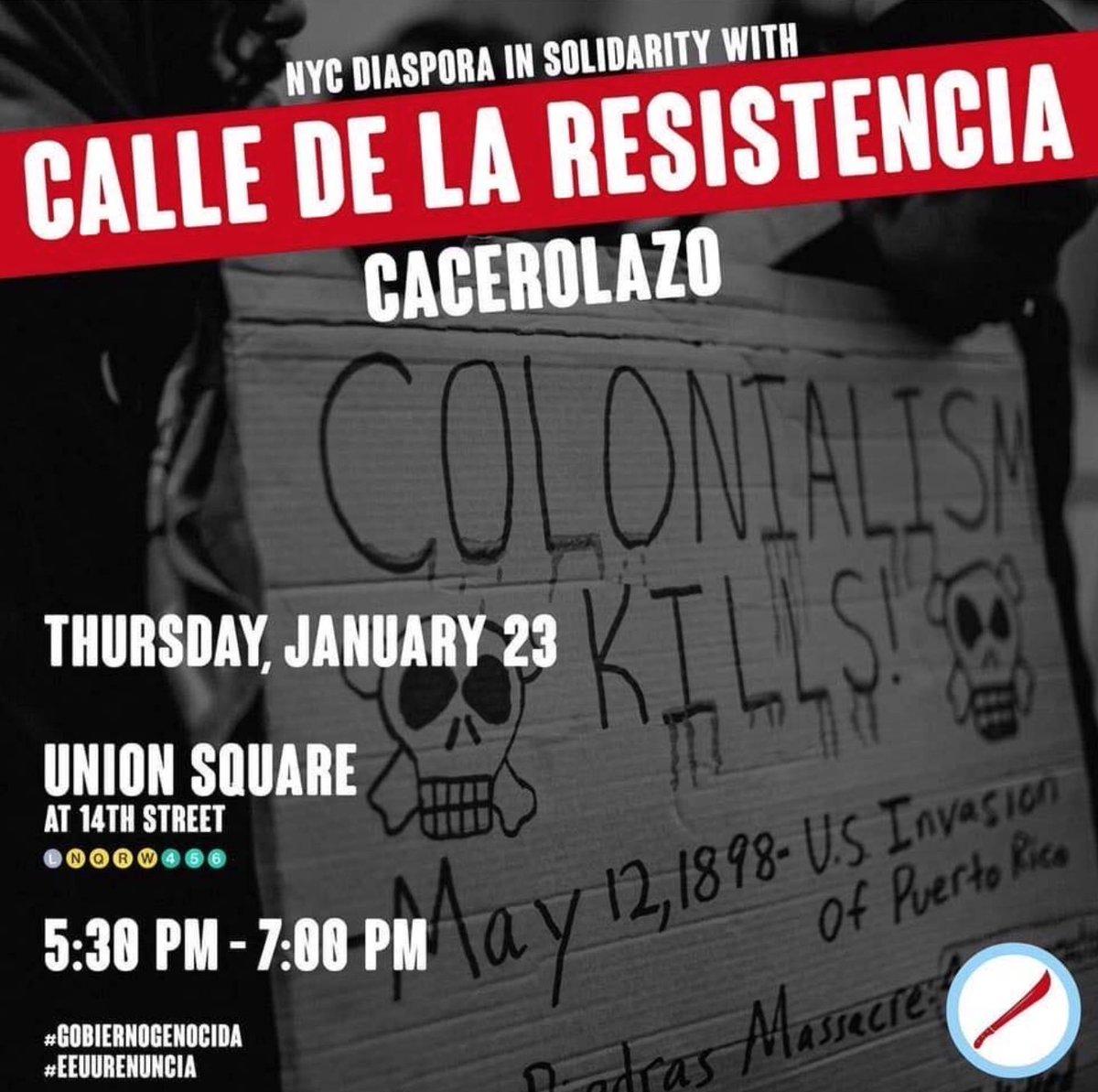 Not in Puerto Rico?  Join protesters in #NYC TONIGHT at 5:30pm in Union Square!!!!  #GobiernoDeMentiras  #GobiernoGenocida #WandaRenuncia #EEUURenuncia