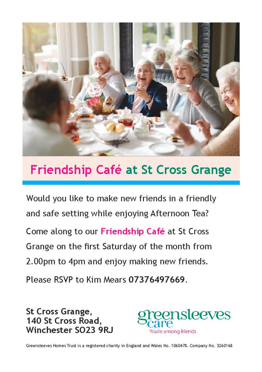 The Friendship Cafe takes place at St Cross Grange on the first Saturday of the month from 2-4pm. Come along for a drink and a chat! #Friendship #together #winchester