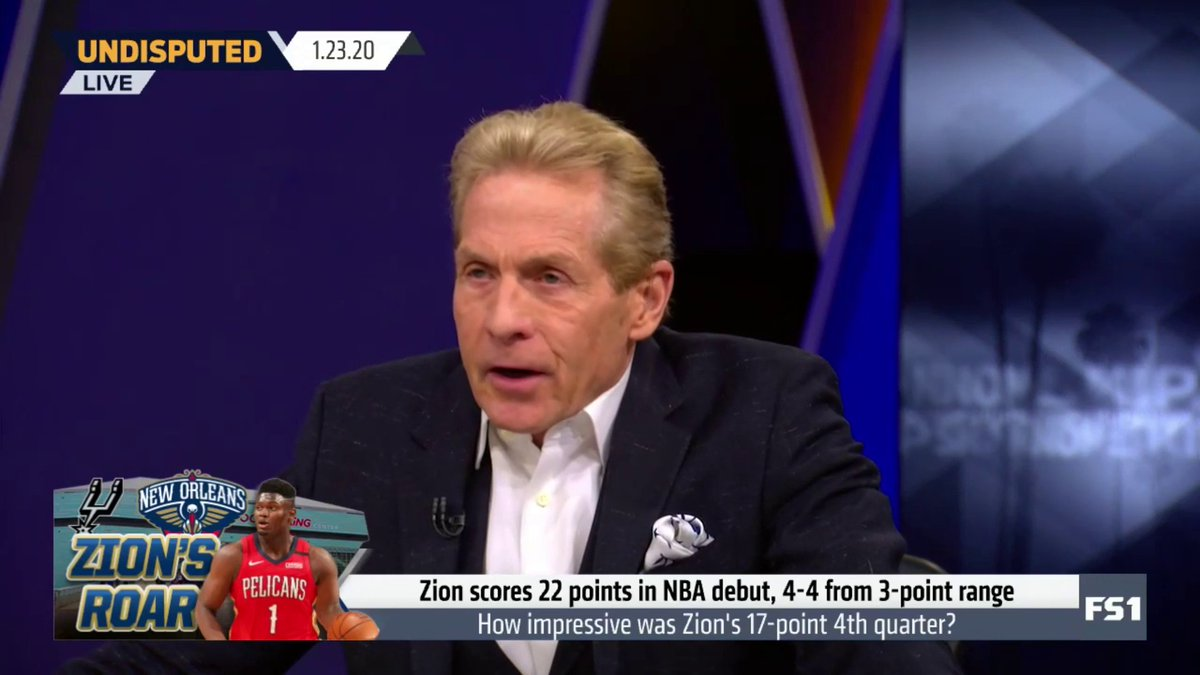 """I haven't seen an explosion like that in 3 minutes since MJ and Kobe were in their primes. It felt like a 1-man Mardi Gras; it felt like Zion took the Rookie of the Year lead in 3 minutes. This was a whole other level than Ja Morant."" — @RealSkipBayless"