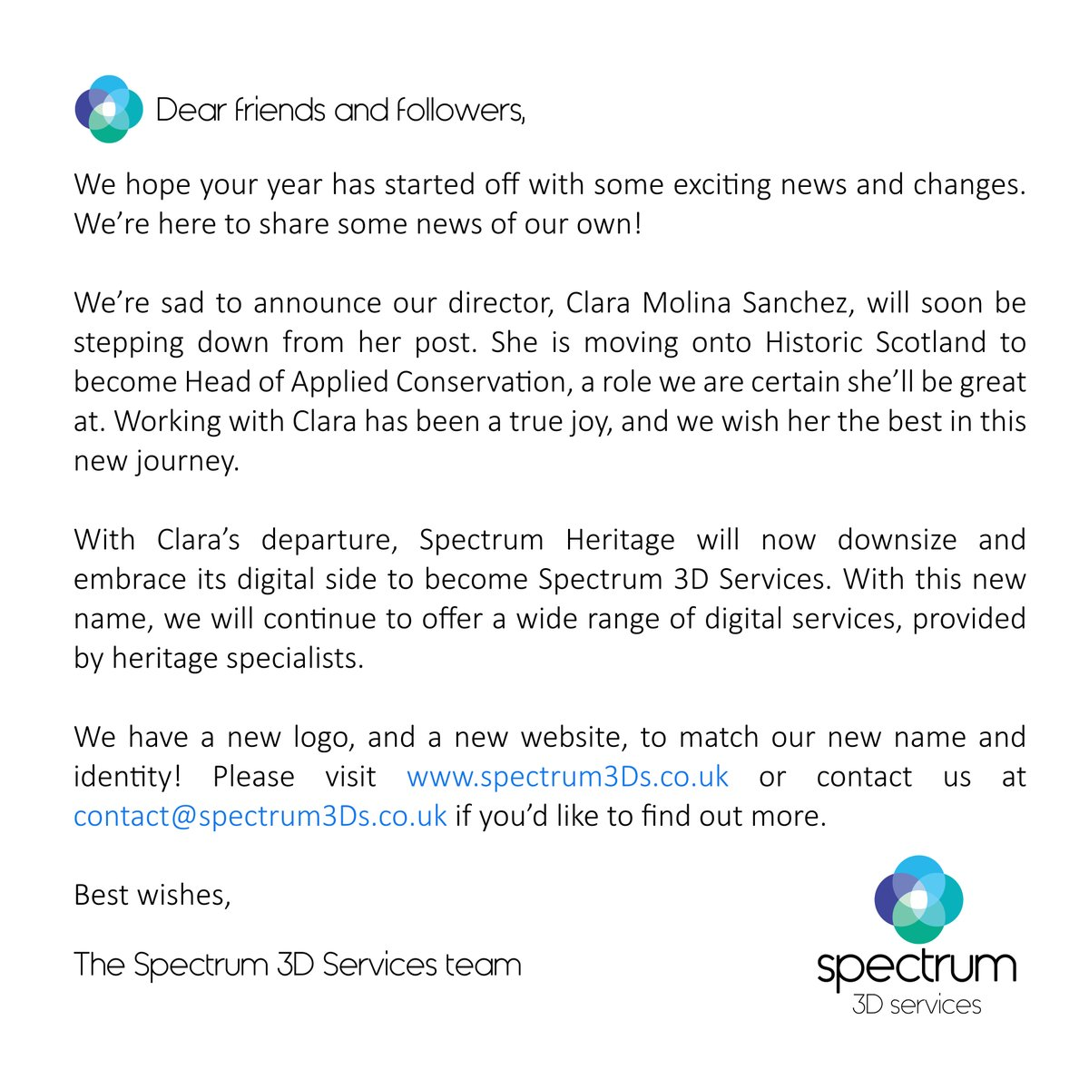 Some important news from the Spectrum team! #digitalheritage #3Dservices
