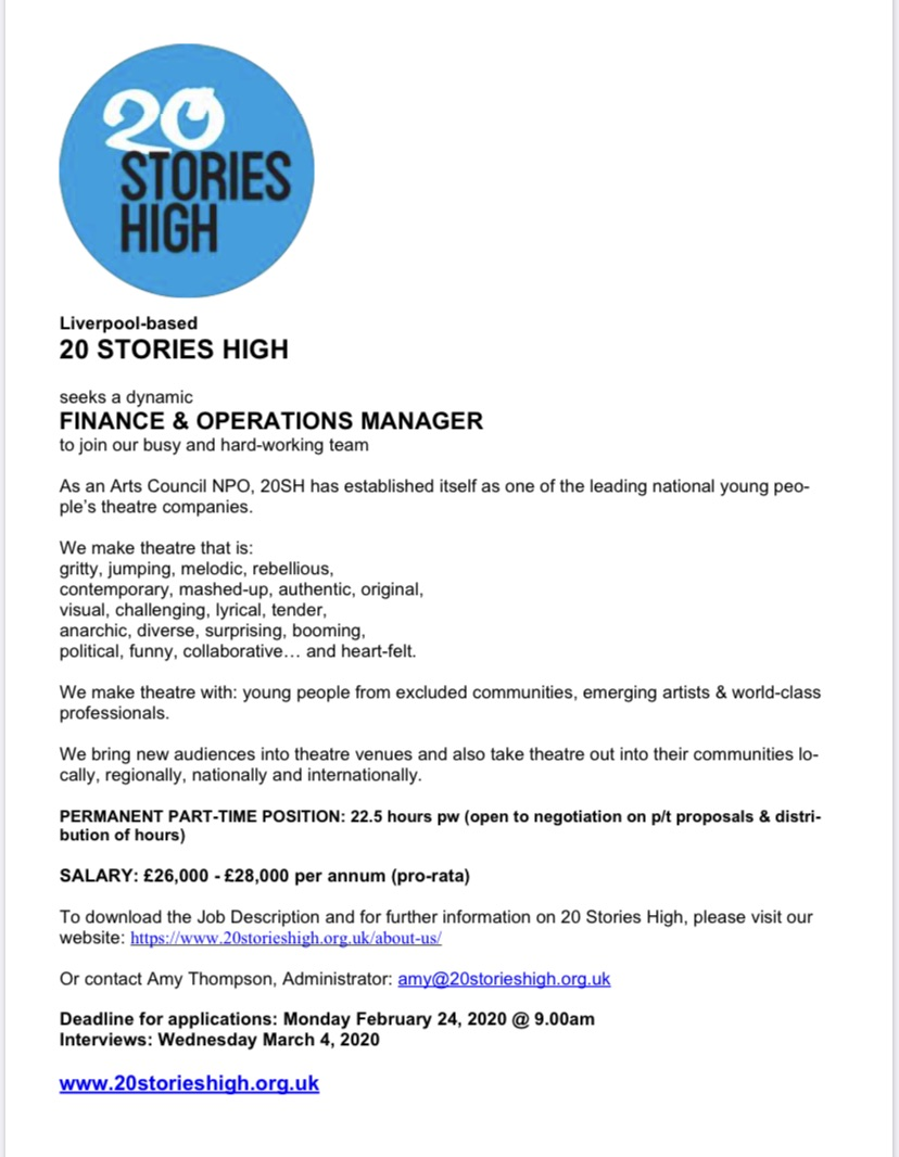 We are looking for a Finance and Operations Manager #artsjobs #financeinthearts