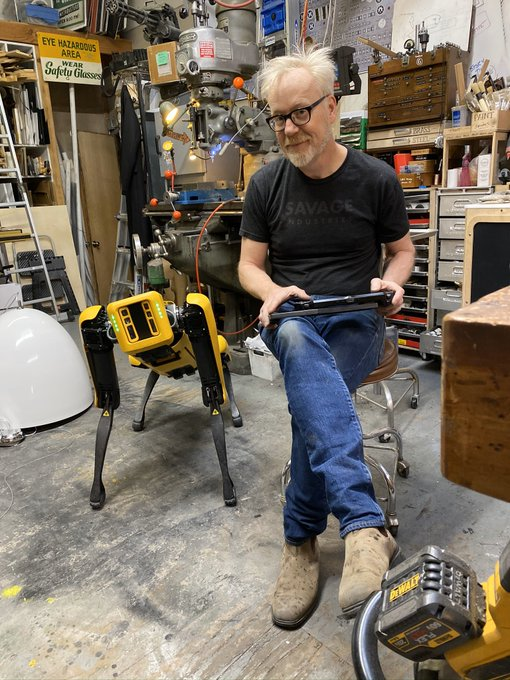 Adam savage (MythBusters) and his new robot dog (spot) toy.