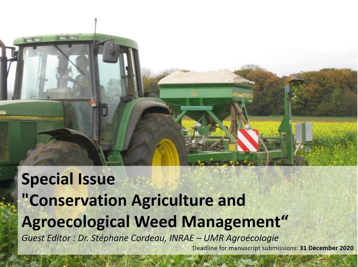 """Do you want to publish scientific experiences in #notill #ConservationAgriculture about #weed management #covercrop, etc. ▶️Look at the Special Issue I edit as Guest Editor for @Agronomy_Mdpi  """"Conservation Agriculture and Agroecological Weed Management"""" https://t.co/ED6dYI9187"""