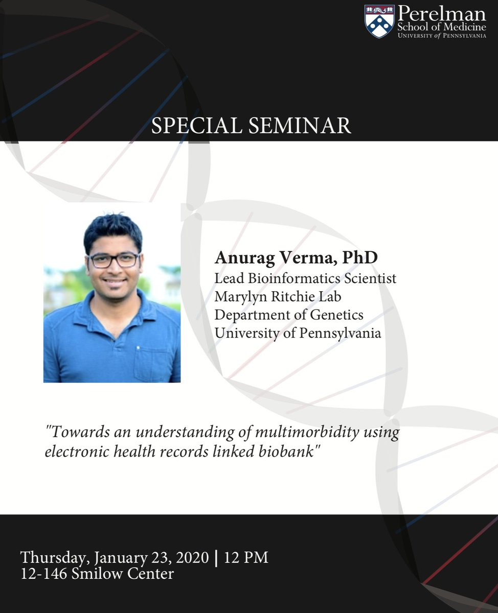 test Twitter Media - Don't miss out on this 🔥🔥🔥 talk using EHR linked biobank to understand multimorbidity from @_anuragverma in @MarylynRitchie lab!   Today, 12pm 12-146 Smilow Center   cc @UPennIBI @PennGenetics https://t.co/69pvTI9lUN