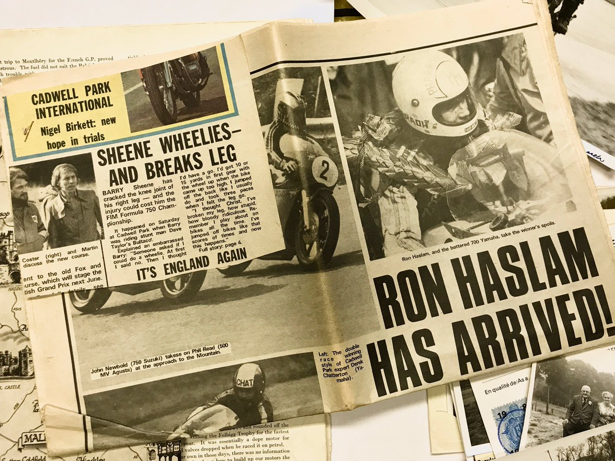 We thought we'd let you in on a bit of a heritage session we had today, going through the archives. We're back to 1975 for a wheeling Barry Sheene, and a winning Ron Haslam, who as you can see 'had arrived' at the time of going to print. What a story that turned out to be! 🏍💨