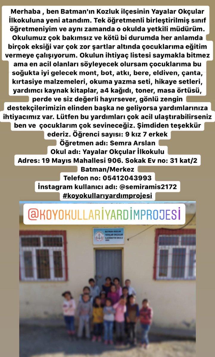 RT @koyokullariyard: #Batman Okulumuza destek olabilirsiniz https://t.co/mLONX2t9jv