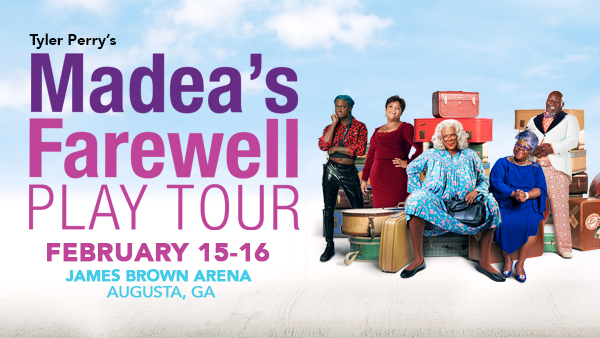 Hellur! Don't forget @tylerperry's Madea's Farewell Play Tour coming to #JamesBrownArena 2/15-2/16!  Tickets still available for these three performances. Click > https://bit.ly/38oEDjr or visit The SRP Box Office at James Brown Arena.   #EntertainAugusta #TylerPerry #Madeapic.twitter.com/K4NYlTHVD3