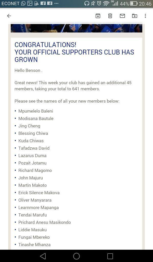 Makorokoto mhuri ye chelsea zimbabwe , welcome to the club new members @LazarusDuma ukuonekera  to be a New Member join  https://www. chelseafc.com/en/supporters- clubs/club-details/zimbabwe_officialsupportersclub  … <br>http://pic.twitter.com/FJrOJRZ9Rt