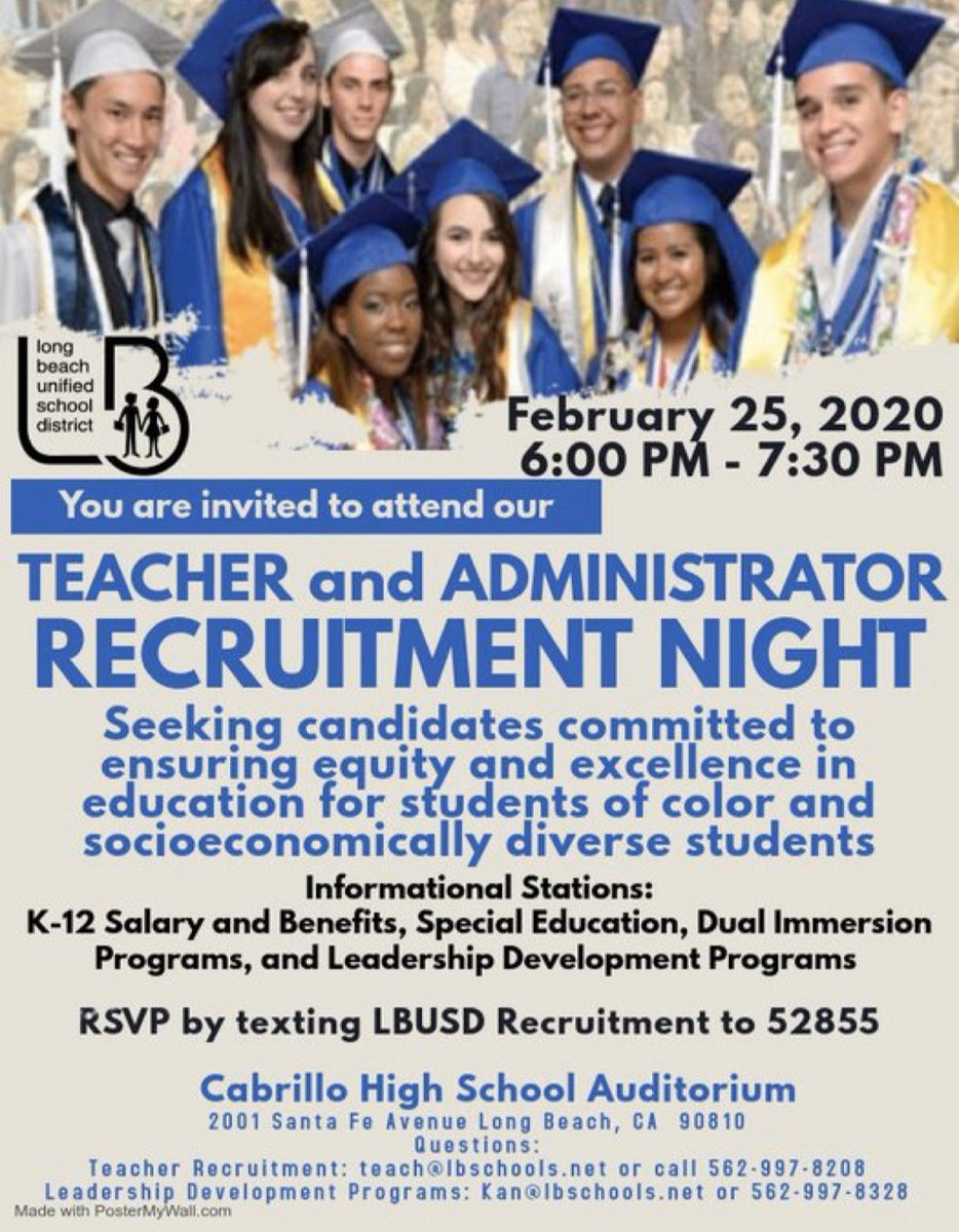 COME JOIN THE LBUSD TEACHER AND ADMINISTRATOR RECRUITMENT NIGHT @CabrilloLb 02/25/2020 @ 6 p.m.  Please RSVP by texting LBUSD RECRUITMENT to 52855 #LBUSDrecruitment #proudtobeLBUSD