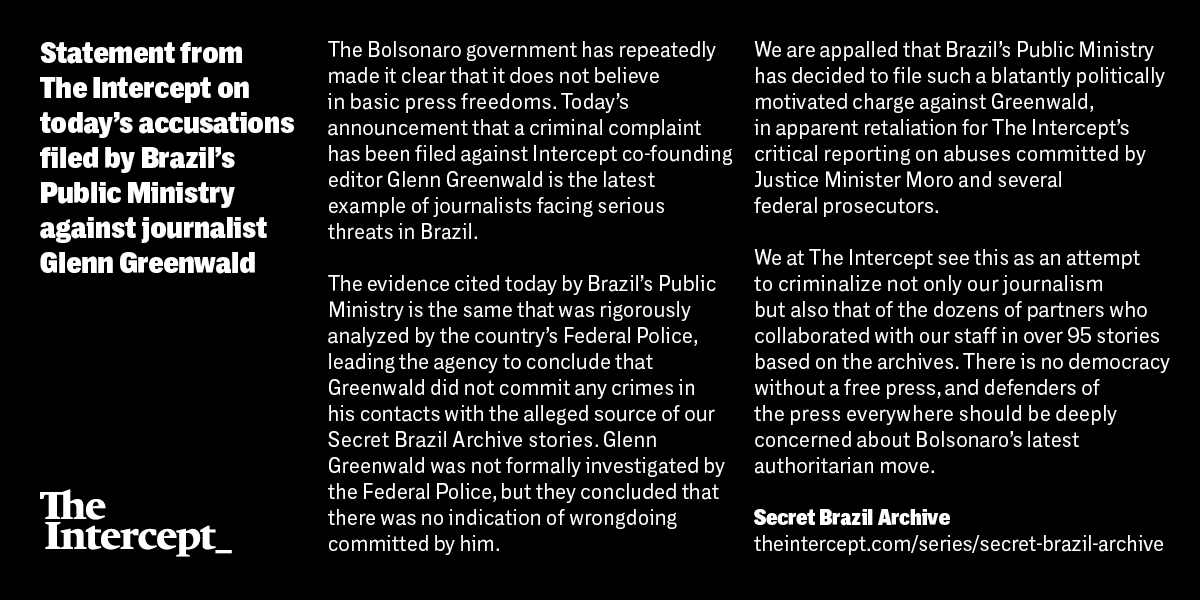 Statement from The Intercept on today's accusations filed by Brazil's Public Ministry against journalist Glenn Greenwald.