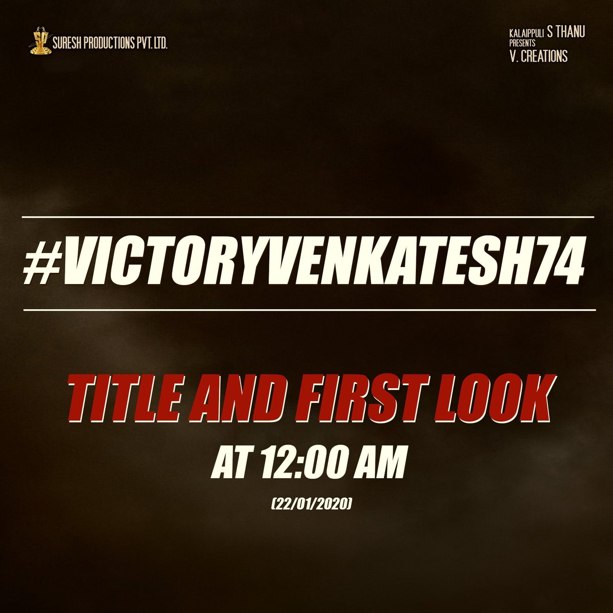 #VictoryVenkatesh74 First Look and Title releasing tonight at 12 AM. #Narappa is the title? Few more hours for official update..<br>http://pic.twitter.com/XHGOjHIy8z