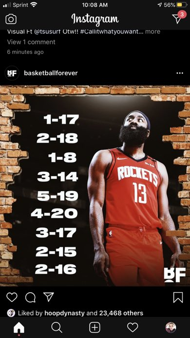 Harden shooting numbers look like tour dates lmao
