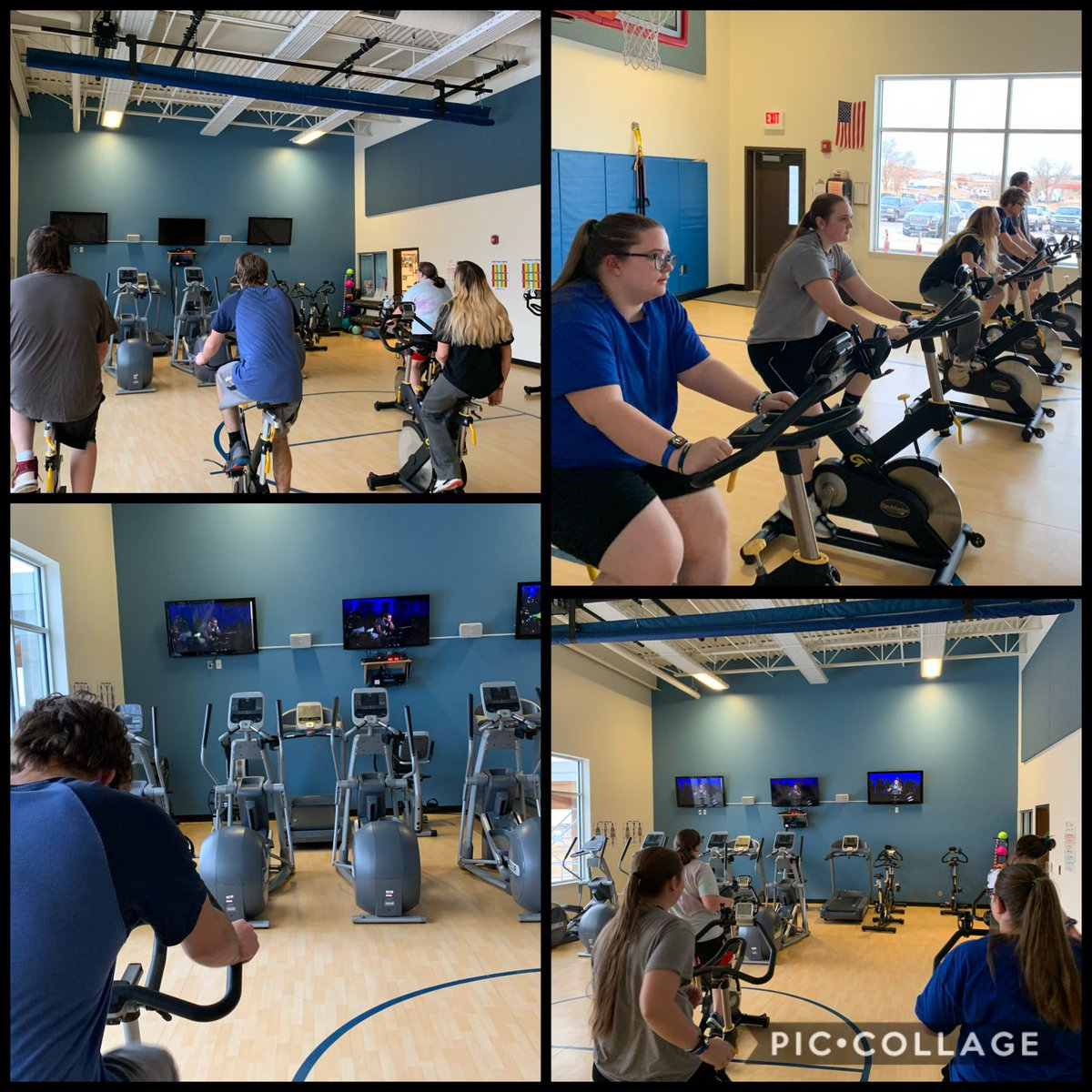 One of our favorite activities...Cycling!!  Thank you to @onepeloton and @alextoussaint25 for a great ride!!  This is my Lifetime Personal Fitness class getting a little sweaty!!! #cycling #physed #hspepic.twitter.com/oo3ND6vZk9