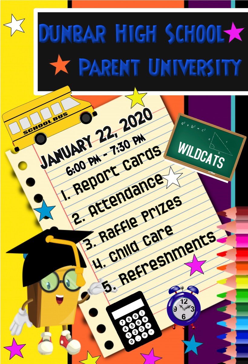 Join us for our annual Parent University January 22, 2020 6:00 pm - 7:30 pm