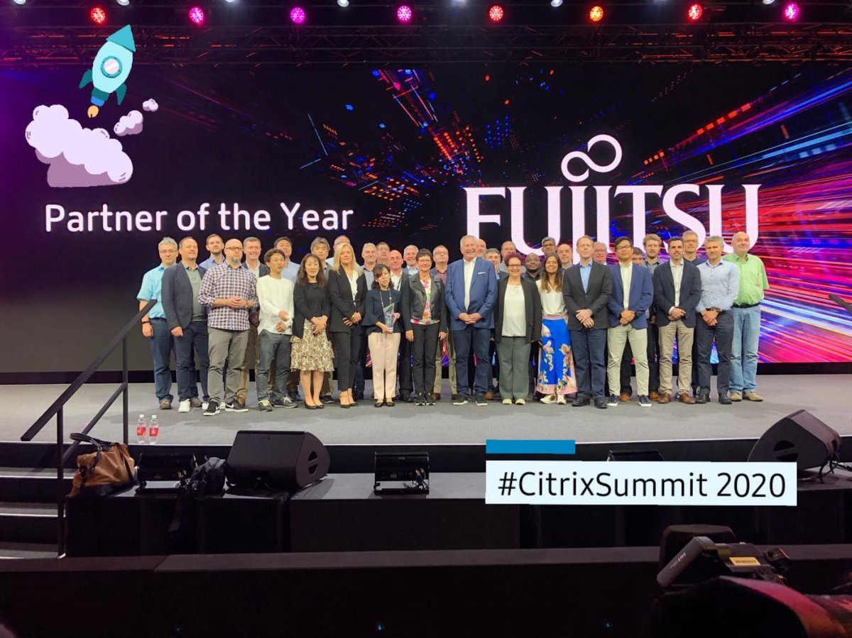 Congratulations to our team for the Partner of the year award at the @Citrix Summit 2020. Learn more about #FUTRO Cloud Client Computing devices, Unicon Software , Digital Workplace Services (DWS), and our FUjitsu Run My Process, we are here at booth #300 at the #CitrixSummit.